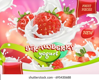 Strawberry yogurt. Fruits and milk splashes. 3d realistic vector package design