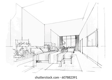 Perfect Streaks Bedroom, Black And White Interior Design. Vector Sketch
