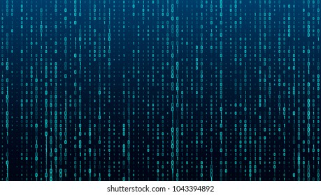 A stream of binary matrix code on the screen. numbers of the computer matrix. The concept of coding, hacker or mining of crypto-currency bitcoin. Vector illustration.