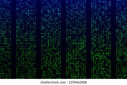 A stream of binary matrix code on the screen. numbers of the computer matrix. The concept of coding, hacker or mining of crypto-currency bitcoin. Vector illustration. - Vector
