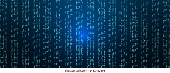 A stream of binary matrix code on the screen. numbers of the computer matrix. The concept of coding, hacker or mining of crypto-currency bitcoin. Vector illustration