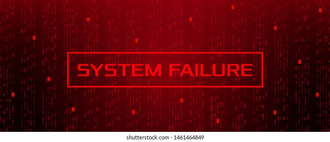 Stream binary matrix code on screen. computer matrix numbers and system crash. The concept of unsuccessful coding and data violation. Vector illustration