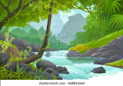 Stream of fresh water flowing through a tropical rain forest
