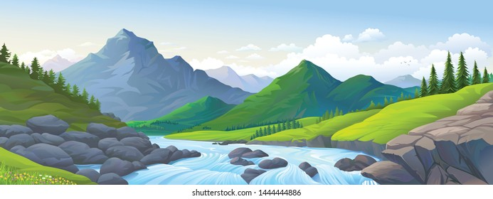 A stream of river with boulders, mountains and meadows