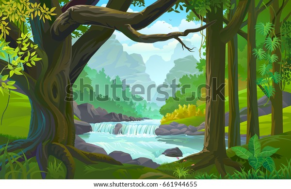 Поток реки, протекающий по густому зеленому лесу