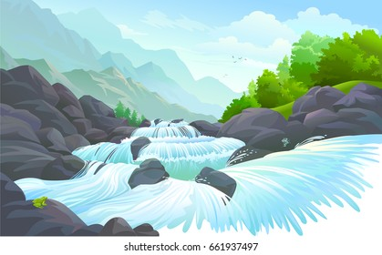 A stream of water flowing over a rocky terrain
