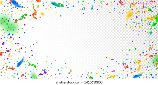 Streamers and confetti. Festive tinsel and foil ribbons. Confetti vignette on white transparent background. Bizarre paty overlay template. Gorgeous celebration concept.