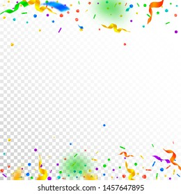 Streamers and confetti. Festive tinsel and foil ribbons. Confetti borders on white transparent background. Authentic paty overlay template. Awesome celebration concept.