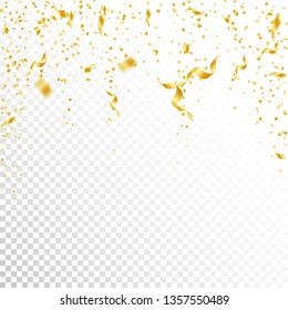 Streamers and confetti. Gold tinsel and foil ribbons. Confetti falling rain on white transparent background. Awesome paty overlay template. Noteworthy celebration concept.