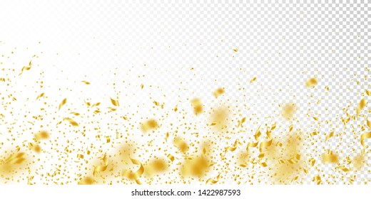 Streamers and confetti. Gold tinsel and foil ribbons. Confetti falling rain on white transparent background. Bewitching paty overlay template. Outstanding celebration concept.