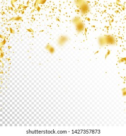 Streamers and confetti. Gold tinsel and foil ribbons. Confetti falling rain on white transparent background. Awesome paty overlay template. Authentic celebration concept.
