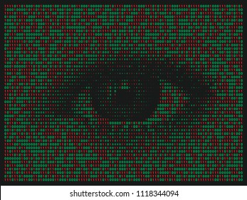 Streaming abstract binary code background with eye. Data and technology, decryption and encryption. Spy or Hacker concept.