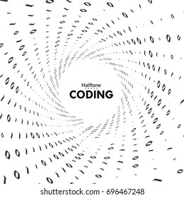 Streaming binary code 3d vector shape. Virtual tunnel warp. Coding, programming or hacking concept. Computer science illustration with 1 and 0 symbols repetitions.