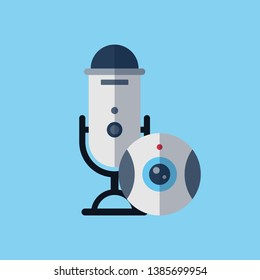 Streaming devices, microphone with webcamera. Video streaming concept, livestreaming, cybesport, videogames, entertaiment, show. Flat style icon, vector illustration.