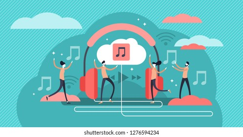 Streaming music vector illustration. Flat tiny persons concept with headphones. Online broadcast service system for song listening without download. Online media playback using wireless cloud content.