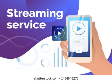 Streaming service presentation slide template. Hand holding smartphone with player interface. Watching video concept. Vector illustration can be used for broadcasting and livestream