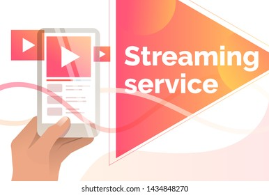 Streaming service slide template. Hand holding digital device with online player interface. Watching video concept. Vector illustration can be used for topics like vlog and livestream