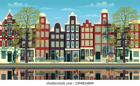 A street in Amsterdam with traditional buildings, walking people, trees and reflections in the water. Handmade drawing vector illustration. All objects are grouped by various layers.