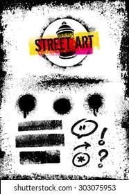 Street Art Graffiti Vector Design Elements Set Including Aerosol Spray Splats, Grunge Brush Strokes, Arrow, Speech Bubble