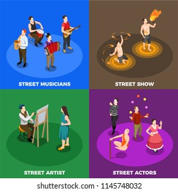 Street artist musicians actors and performers of fire show isometric design concept isolated vector illustration