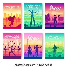 Street artists around the world brochure cards set. Speech on the alleys of the city template of flyear, magazines, poster, books, invitation banners. Entertainment show layout modern