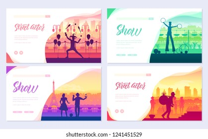Street artists around the world brochure cards set. Speech on the alleys of the city template of flyear, web banner, ui header, enter site. Invitation concept background. Layout modern slider