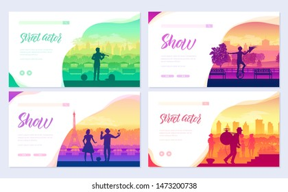 Street artists around the world brochure cards set. Speech on the alleys of the city template of flyer, web banner, ui header, enter site. Invitation concept background. Layout modern slider