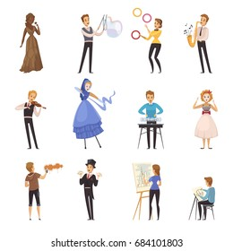 Street artists isolated cartoon icons with mime busker juggler painter musician illusionist colored figurines flat vector illustration