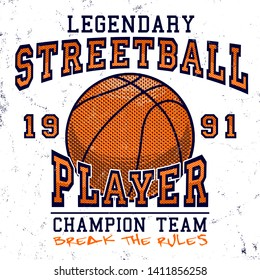 street ball player t shirt print textile graphic design