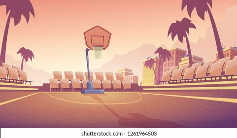 Street basketball court, city public stadium for team games cartoon vector. Empty outdoor sport field with basketball hoop and seats for fans illustration. Seacoast resort sport actives infrastructure