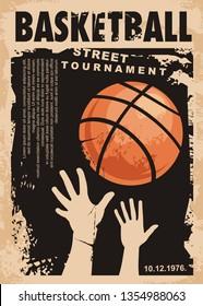 Street basketball grunge poster design layout. Street ball game retro flyer template. Basketball tournament vector banner. Urban artistic sport leaflet.