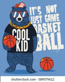 street basketball player bear vector design for kids tee