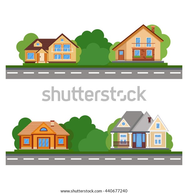 The street of beautiful houses. Set Colorful Flat Residential House. Private residential architecture. Family home. Traditional and modern house. Flat style vector illustration