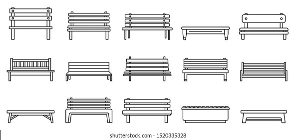 Street bench icons set. Outline set of street bench vector icons for web design isolated on white background