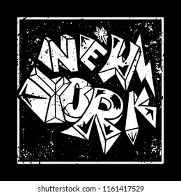 Street black and white graffiti type in rock style New York City. For fashion design print on clothes t shirt bomber sweatshirt also for sticker poster patch. Underground style.