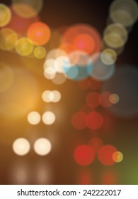Street blurred lights, urban abstract bokeh vector background