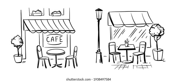 Street cafe with chairs and table. Terrace Coffee Shop or Breakfast Out place.