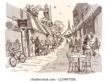 Street cafe in the city. Bicycle at the entrance to the cafe and people with cupe of coffee at the tables. Illustration in vintage style. Vector illustration