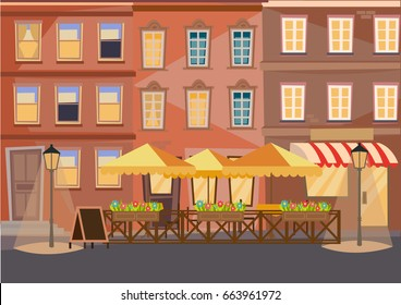 Street cafe europe city vector illustration background