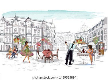 street cafe with fashion people, men and women, in the old city, vector illustration.