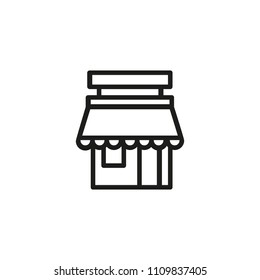 Street cafe line icon. Building, suburb, store. Shop concept. Vector illustration can be used for topics like public establishment, coffee shop, architecture