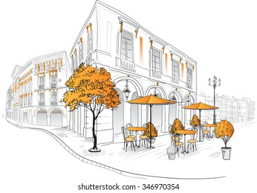 Street cafe in old city. Hand draw illustration