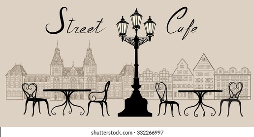 Street cafe in old town. Old city view and street cafe. Dining hours along a european cobblestone alleyway.  Hand drawn sketch graphic illustration