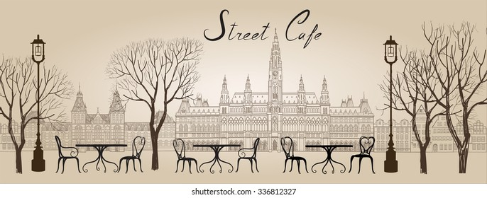 Street cafe in old town graphic illustration. Old city views and street cafes. Dining hours along a Vienna cobblestone alley