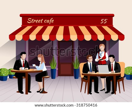 Street cafe outdoor terrace business lunch scene with waitress taking order flat banner print abstract vector illustration. Editable EPS and Render in JPG format
