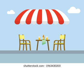 Street cafe patio flat vector illustration. Wooden table and chairs on sidewalk. Outdoor cafe seating.