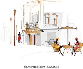 Street cafe with people drinking coffee