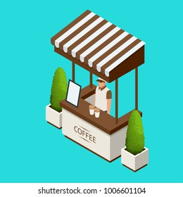 Street cafe Promotion Stand or exhibition standands, handout on blue background isolated vector illustration