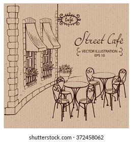 Street Cafe with tables, Hand drawn Vector Illustration