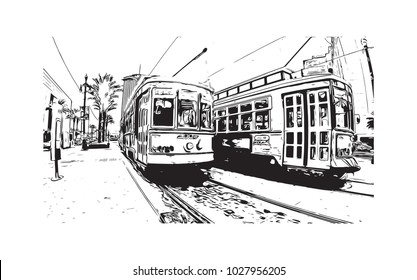 Street Cars of New Orleans City in Louisiana, USA. Hand drawn sketch illustration in vector.
